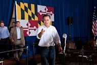 US Republican presidential candidate Mitt Romney arrives to speak to the press following a campaign rally in Arbutus, Maryland. Romney received backing from major Republican figures Wednesday after a big win in Illinois, but an aide's gaffe reinforced qualms about his campaign
