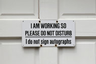 A sign on door bids visitors to not disturb is seen during a preview tour of the home and studio of artist Andrew Wyeth Monday, April 23, 2012 in Chadd's Ford, Pa. The studio will be open for tours in the summer of 2012 by the Brandywine River Museum. (AP Photo/Alex Brandon)