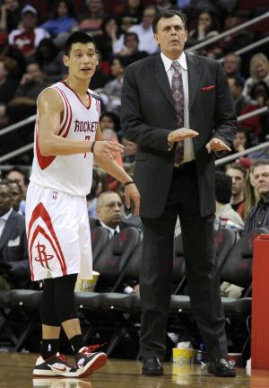 FILE - In this Dec. 22, 2012, file photo, Houston Rockets' Jeremy Lin (7) talks with coach Kevin McHale during the second half of an NBA basketball game against the Memphis Grizzlies in Houston. Two weeks ago, the Rockets were one of the league's highest-scoring teams. They've failed to hit 100 points in half their games since, and  Lin is in a major slump. (AP Photo/Pat Sullivan, File)