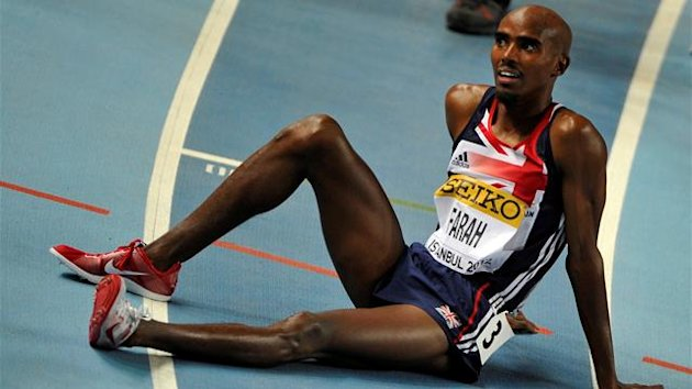 Mohamed Mo Farah of Britain reacts after competing at men's 3,000 meters final during the world indoor athletics championships at the Atakoy Athletics Arena in Istanbul