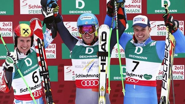 Ted Ligety wins the men's giant slalom at the World Alpine Skiing Championships, with Marcel hirscher and Manfred Moelgg (Reuters)