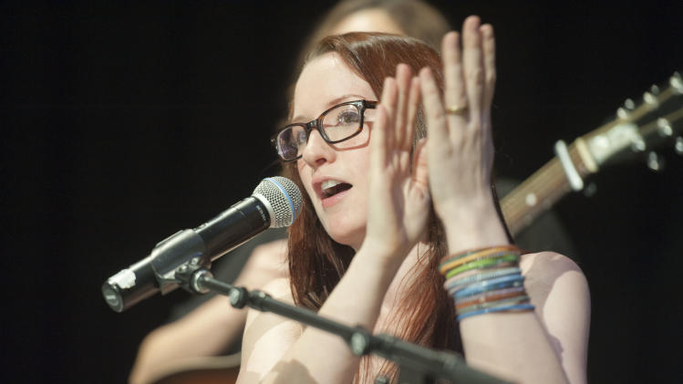 """IMAGE DISTRIBUTED FOR VH1 - Ingrid Michaelson is seen during the VH1 Save the Music Foundation We Are All """"Blood Brothers"""" event at Streetsboro High School, on Tuesday, Feb., 26, 2013 in Streetsboro, Ohio. (Photo by Jason Miller/Invision for VH1/AP Images)"""