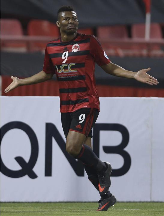 Uche of Al-Rayyan celebrates after scoring a goal against Esteghlal during their AFC Championship League soccer match in Doha