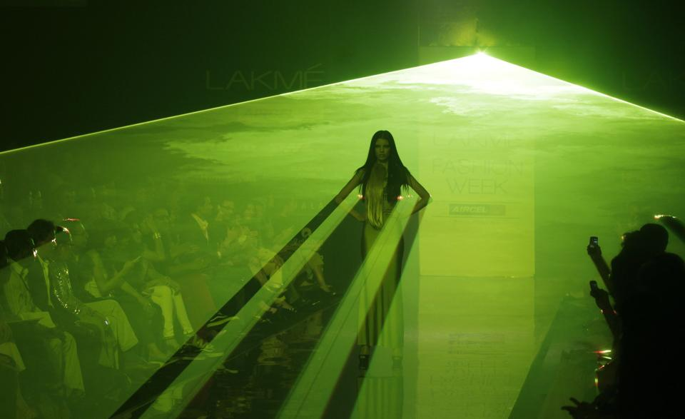 An Indian model displays a creation by Shivan and Narresh during the Lakme Fashion Week in Mumbai, India, Monday, Aug. 6, 2012. (AP Photo/ Rajanish Kakade)