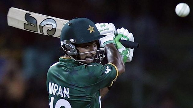 Pakistan's Imran Nazir plays a shot against Bangladesh during their Twenty20 World Cup cricket match in Pallekele September 25, 2012. (Reuters)