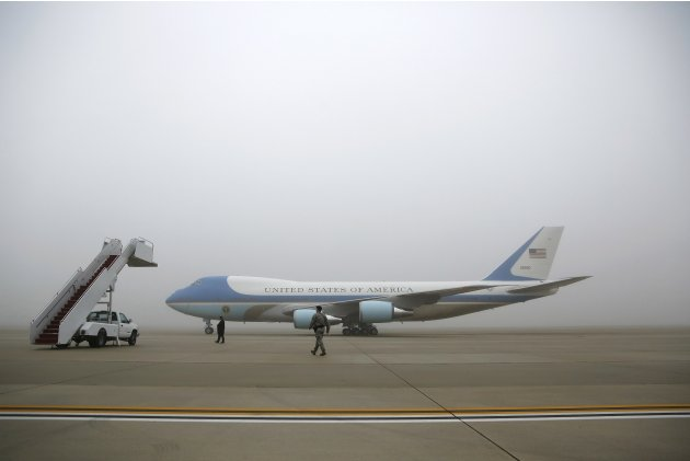 The Air Force One taxis across the tarmac with U.S. President Barack aboard in foggy conditions, for travel to Atlanta from Joint Base Andrews, Maryland