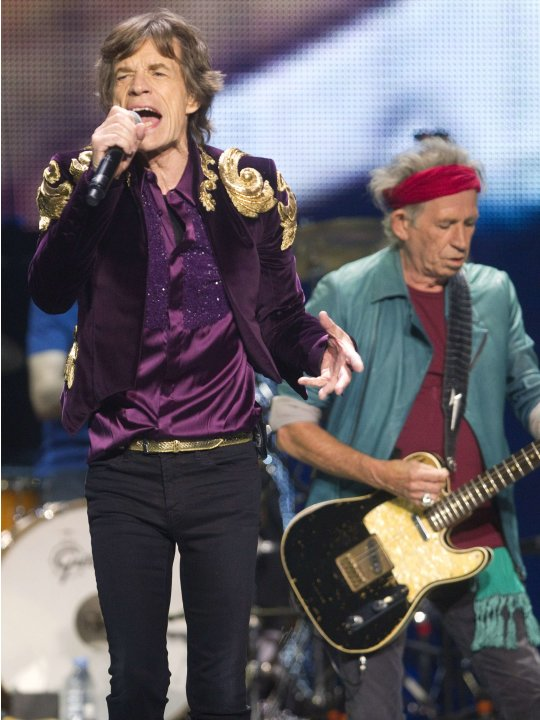 Mick Jagger and Keith Richards of the Rolling Stones perform during The Rolling Stones 50 and Counting tour at the Air Canada Centre in Toronto