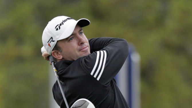 Martin Laird, of Scotland, watches his drive on the 1st hole during the final round of the Texas Open golf tournament on Sunday, April 7, 2013, in San Antonio. (AP Photo/Eric Gay)