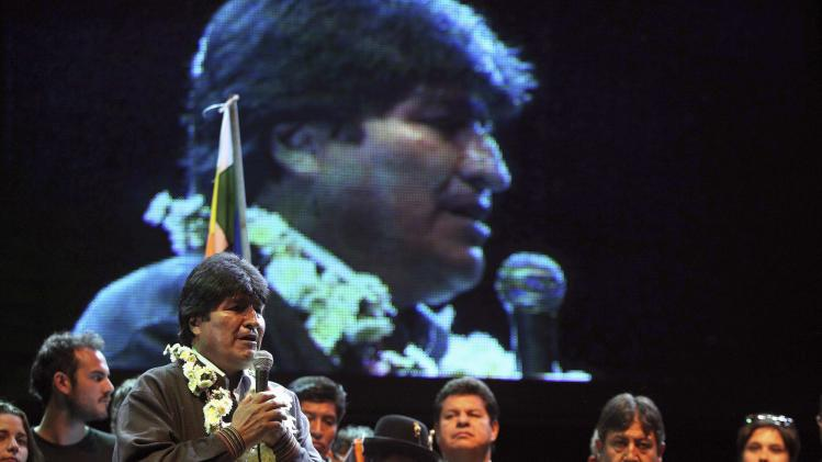 Bolivia's President Evo Morales delivers a speech at the Meeting for the Unity of the Peoples event, in Santiago