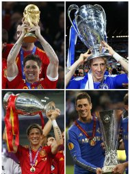A combination photo shows Spanish soccer player Fernando Torres of Chelsea celebrating with trophies after various international soccer matches. Clockwise from top L: The World Cup trophy after the 2010 World Cup final between Netherlands and Spain at Soccer City stadium in Johannesburg July 11, 2010, the Champions League trophy after the final between Chelsea and Bayern Munich at the Allianz Arena in Munich May 19, 2012, the Europa League trophy after the final between Chelsea and Benfica at the Amsterdam Arena May 15, 2013 and the Euro 2012 trophy after the final between Spain and Italy at the Olympic stadium in Kiev, July 1, 2012. REUTERS/Kai Pfaffenbach (top L), Michael Dalder (top R) and Eddie Keogh (bottom L and R)/Files  (SPORT SOCCER TPX IMAGES OF THE DAY)