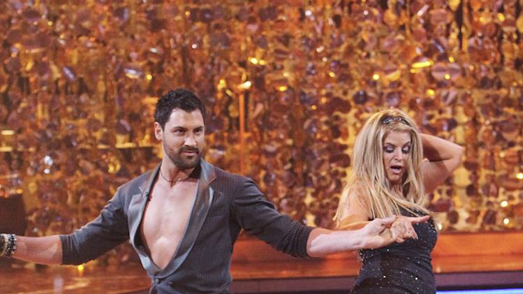 "Kirstie Alley and Maksim Chmerkovskiy perform the Cha-Cha-Cha on ""Dancing with the Stars."""