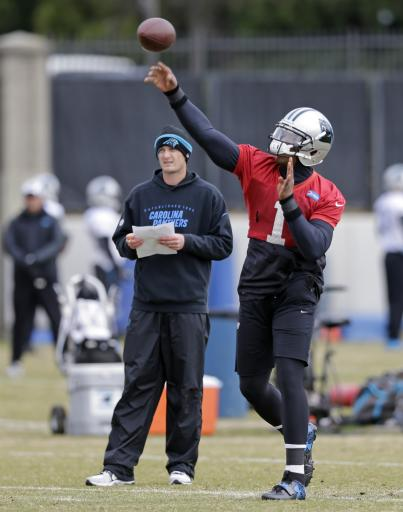 Panthers' Newton works with first team at practice
