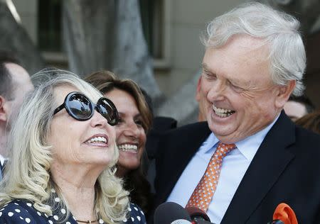 Shelly Sterling, 79, speaks at a news conference with her lawyer Pierce O'Donnell in Los Angeles