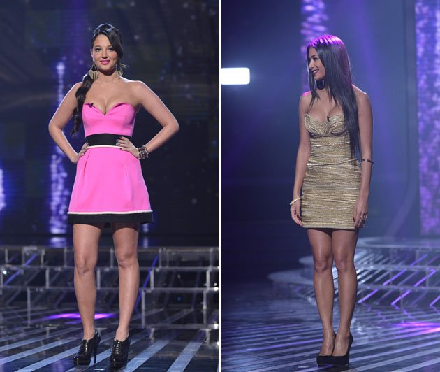 X Factor week 1 part 2: Tulisa decided to channel her inner Barbie, with this bubblegum pink mini dress, paired with bright pink lipgloss. We're not sure about those black shoe boots, but…er…hello cle