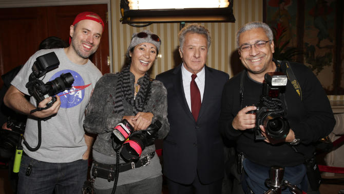 Dustin Hoffman poses with photographers at AARP The Magazine's 12th Annual Movies for Grownups Awards at The Peninsula Hotel on February 12, 2013 in Beverly Hills, California. (Photo by Todd Williamson/Invision for AARP Magazine/AP Images)