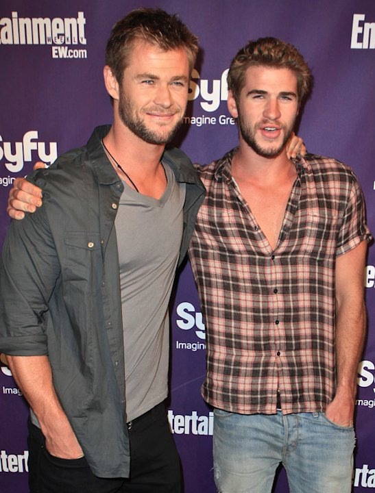 Chris Hemsworth and Liam Hemsworth photos: Looking uber Australian  we like it! Copyright [Getty]