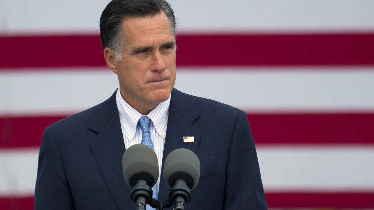 Republican presidential candidate, former Massachusetts Gov. Mitt Romney makes a statement on the shootings in Colorado on Friday, July 20, 2012 in Bow, N.H.  (AP Photo/Evan Vucci)