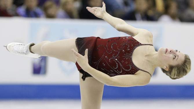 Ashley Wagner competes in the senior ladies short program at the U.S. figure skating championships in Omaha, Neb., Thursday, Jan. 24, 2013. (AP Photo/Nati Harnik)