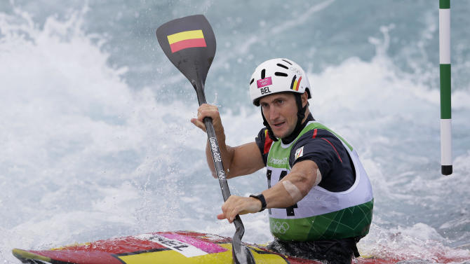 Belgium's Mathieu Doby competes in the heats of the K-1 men's kayak slalom at Lee Valley Whitewater Center, at the 2012 Summer Olympics, Sunday, July 29, 2012, in London. (AP Photo/Kirsty Wigglesworth)