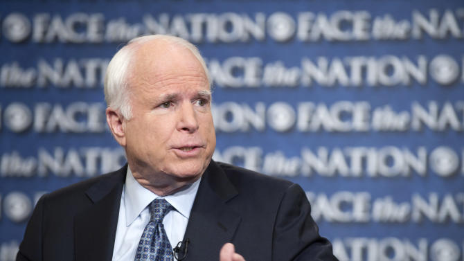 """In this photo provided by CBS News, Sen. John McCain, R-Ariz., appears, Sunday, April 7, 2013, on CBS' """"Face the Nation"""" in Washington. McCain, a leader of the immigration talks, suggested there could be a tough road ahead for the contentious legislation. """"There will be a great deal of unhappiness about this proposal because everybody didn't get what they wanted,"""" McCain said. """"There are entrenched positions on both sides of this issue as far as business and labor."""" (AP Photo/CBS News, Chris Usher)"""