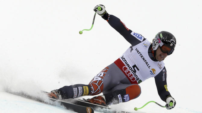 United States' Andrew Weibrecht speeds down the course during the men's super-G, at the Alpine skiing world championships in Schladming, Austria, Wednesday, Feb.6, 2013. (AP Photo/Luca Bruno)