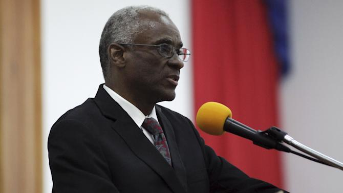 Provisional president candidate Edgar Leblanc Fils gives his speech in the Special Bicameral Commission for the election of the provisional President of the Republic in the Haitian Parliament in Port-au-Prince, Haiti