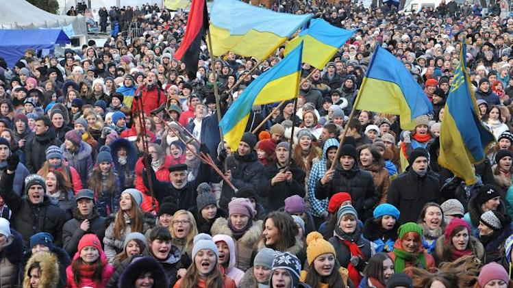Some ten thousand students rally in the western Ukrainian city of Lviv on December 10, 2013