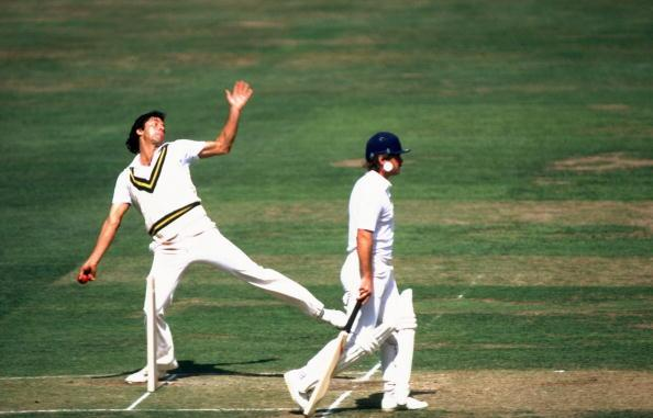 Jun 1985:  Pakistan Captain Imran Khan bowls during the Second Test match against England at Lord's in London. Pakistan won the match by ten wickets. \ Mandatory Credit: Adrian  Murrell/Allspo