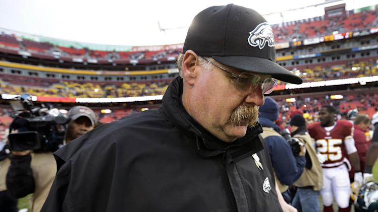 Philadelphia Eagles head coach Andy Reid leaves the field after an NFL football game against the Washington Redskins in Landover, Md., Sunday, Nov. 18, 2012. The Redskins won 31-6. (AP Photo/Alex Brandon)
