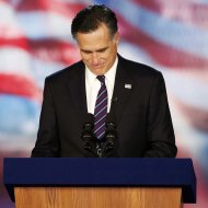 Republican presidential nominee Mitt Romney delivers his concession speech during his election night rally in Boston, Massachusetts, November 7, 2012.     REUTERS/Mike Segar