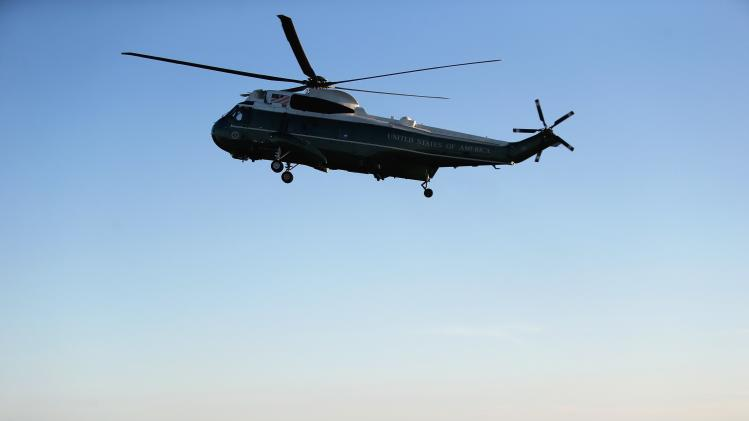 U.S. President Obama arrives via the Marine One helicopter in Newport, Rhode Island