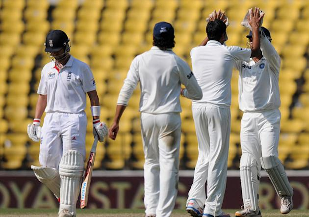 India celebrate after Ravichandran Ashwin dismissed Jonathan Trott on Day 5 of the fourth Test between India and England at the Jamtha Stadium in Nagpur, Monday, December 17, 2012. (BCCI)