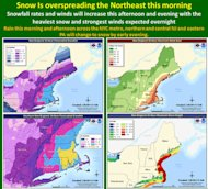 The current weather forecast for the Northeast, updated Friday at 9 a.m. by the National Weather Service.