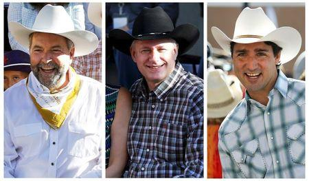Combination picture of NDP Leader Mulcair, Canadian Prime Minister Harper and Liberal Leader Trudeau attending the Calgary Stampede in Calgary