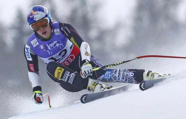 Lindsey Vonn of the U.S. skis during the women's Super G race at the World Alpine Skiing Championships in Schladming