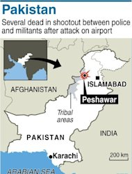 Map of Pakistan locating a shootout between police and militants in Peshawar on December 16, 2012. Six people were killed Sunday as police and troops battled militants armed with automatic weapons, grenades and mortars in northwest Pakistan&#39;s Peshawar, a day after a deadly Taliban raid on the city&#39;s airport