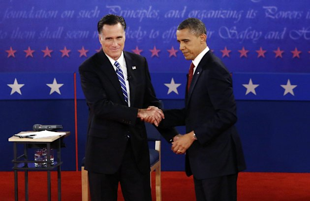 President Barack Obama and Republican presidential candidate and former Massachusetts Gov. Mitt Romney shake hands at the end of the second presidential debate at Hofstra University in Hempstead, N.Y., Tuesday, Oct. 16, 2012. (AP Photo/Charles Dharapak)