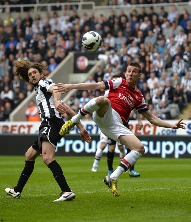 Arsenal's Koscielny scores against Newcastle United during their English Premier League soccer match in Newcastle
