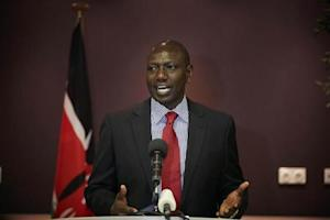 Deputy Kenyan President Ruto addresses the media at a news conference in the Hague