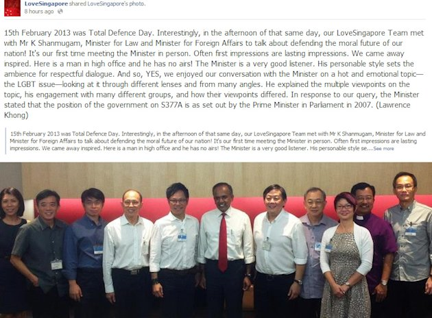 <p>Members of the LoveSingapore christian church network met Law and Foreign Affairs Minister K Shanmugam last Friday to discuss the issues surroundign Section 377A. (Screengrab from LoveSingapore Facebook page)</p>