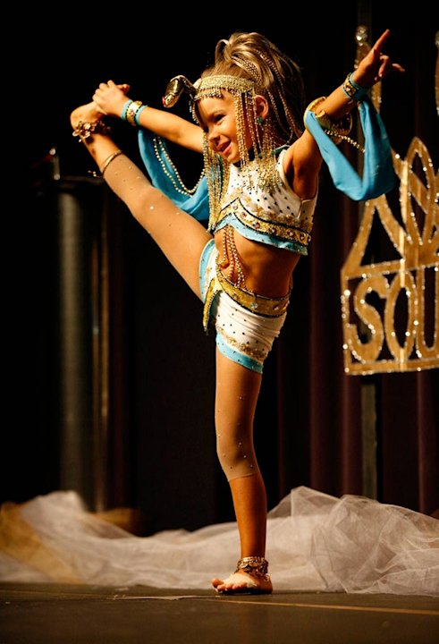 "Karmen performs an Egyptian-themed routine for the talent portion of the competition at the Southern Celebrity Beauty Pageant in Charleston, West Virginia as seen in ""Toddlers & Tiaras."""