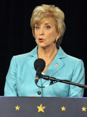 Republican candidate for U.S. Senate Linda McMahon speaks during a debate against Democratic candidate, U.S. Rep. Chris Murphy, D-Conn., in Hartford, Conn., Thursday, Oct. 18, 2012. The two are vying for the Senate seat now held by Joe Lieberman, an independent who's retiring. (AP Photo/Jessica Hill)