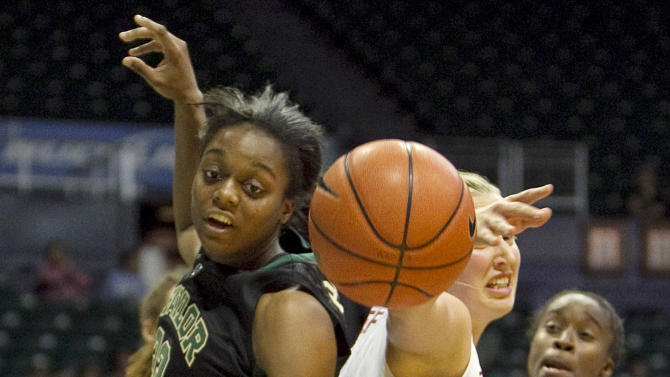 Baylor forward Brooklyn Pope, left, and Stanford forward Mikaela Ruef (3) battle for a rebound during the second half of an NCAA college basketball game, Friday, Nov. 16, 2012 in Honolulu.  (AP Photo/Marco Garcia)