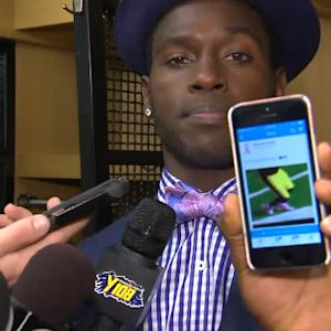 Pittsburgh Steelers wide receiver Antonio Brown shows his evidence