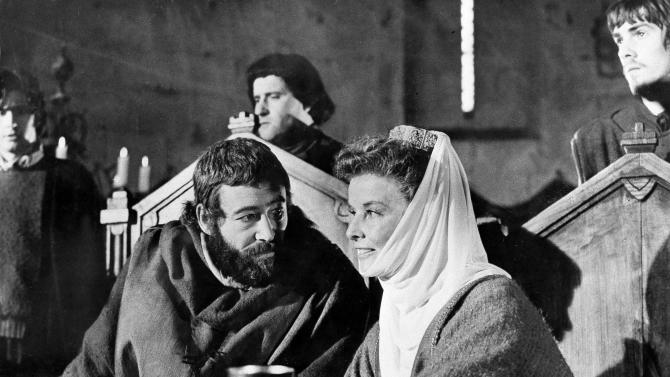 "FILE-  This file image shows American actress Katharine Hepburn, right, as she plays the part of Queen Eleanor of Aquitaine with co-star Peter O'Toole as King Henry II of England, in the film ""The Lion In Winter,"" as it is filmed in southern France, Sept. 1968.  (AP Photo/File)"