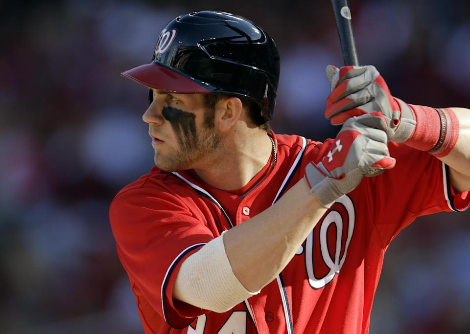 Washington Nationals' Bryce Harper bats during the first inning in Game 2 of the National League division baseball series against the St. Louis Cardinals, Monday, Oct. 8, 2012, in St. Louis. (AP Photo/Jeff Roberson)