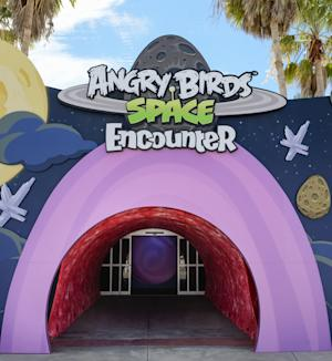 This March 22, 2013 photo released by Delaware North shows the main entrance to Angry Birds Space Encounter at the Kennedy Space Center Visitor Complex in Cape  Canaveral, Fla. The online game Angry Birds is the inspiration for the new attraction at the space center, where most of the exhibits focus on space exploration and NASA history. (AP Photo/Delaware North, Joe Cascio)