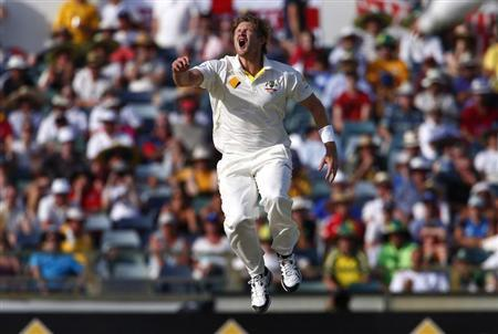 Australia's Watson reacts after England's Stokes was nearly caught during the fourth day of the third Ashes test cricket match in Perth