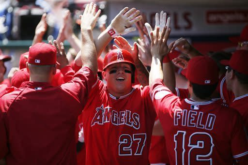 Trout's 1st slam helps Angels beat Tigers 10-0