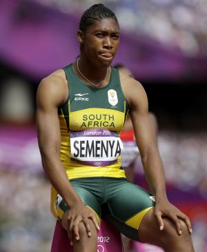 South Africa's Caster Semenya waits to start in a women's 800-meter heat during the athletics in the Olympic Stadium at the 2012 Summer Olympics, London, Wednesday, Aug. 8, 2012. (AP Photo/Anja Niedringhaus)